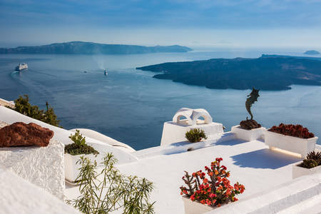 Details of the beautiful architecture of Santorini Island and the view of the Cyclades Stok Fotoğraf