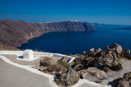 The beautiful landscapes seen from the walking path number nine between the cities of Fira and Oia in Santorini Island Stok Fotoğraf