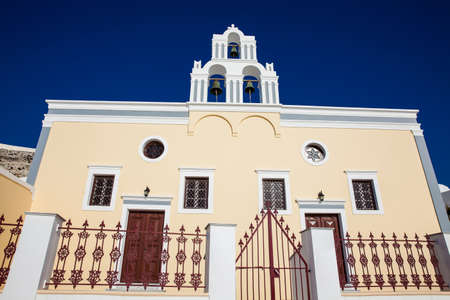 Assumption of the Blessed Virgin Mary Catholic Church at Firostefani in Santorini Island Stok Fotoğraf