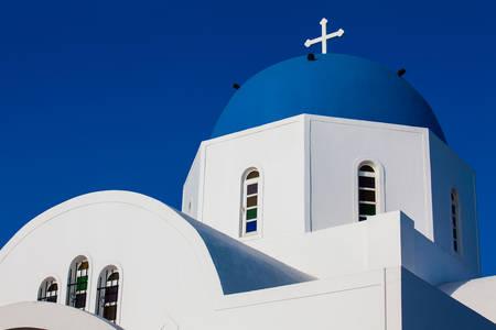 St. Gerasimos church in Fira city at Santorini Island Stok Fotoğraf