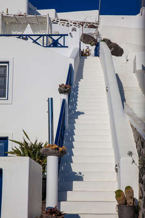Beautiful architecture in white and blue at Santorini Island