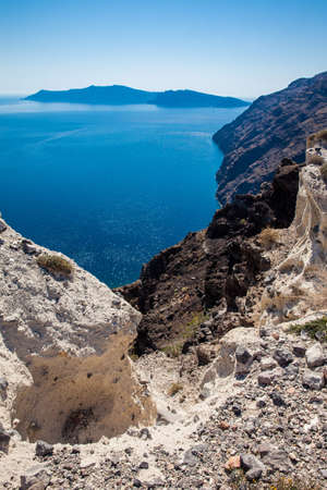 Santorini cliffs along the walking path number 9 between the cities of Fira and Oia