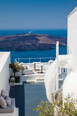 Beautiful architecture of the white houses of Santorini Island
