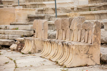 Detail of the seating at the Theatre of Dionysus Eleuthereus the major theatre in Athens and considered the first theatre of the world which is built at the foot of the Athenian Acropolis dated to the 6th century BC