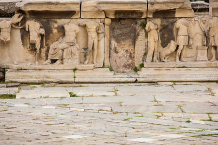 Detail of the reliefs which decorete the Theatre of Dionysus Eleuthereus the major theatre in Athens and considered the first theatre of the world which is built at the foot of the Athenian Acropolis dated to the 6th century BC Stok Fotoğraf
