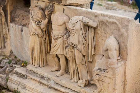 Detail of the reliefs which decorete the Theatre of Dionysus Eleuthereus the major theatre in Athens and considered the first theatre of the world which is built at the foot of the Athenian Acropolis dated to the 6th century BC