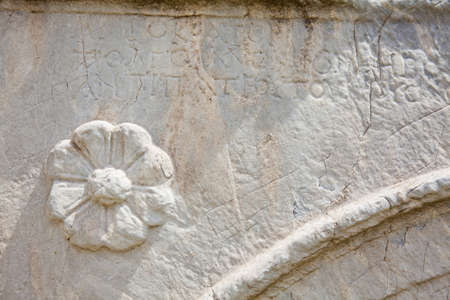 Detail of the carvings at the ancient ruins on the Roman Agora located to the north of the Acropolis in Athens