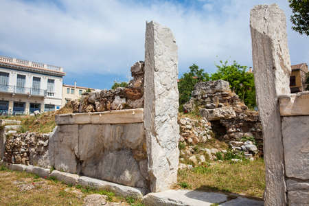 Ancient ruins at the Roman Agora located to the north of the Acropolis in Athens 写真素材