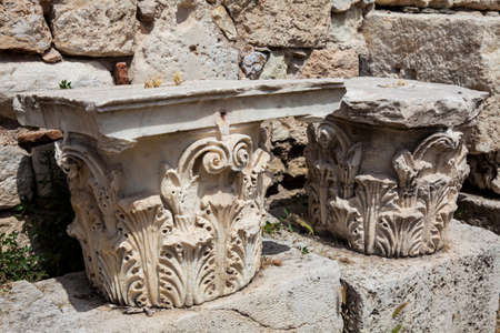 Detail of the ancient ruins at the Roman Agora located to the north of the Acropolis in Athens