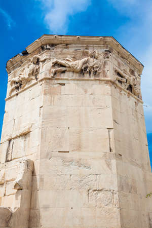 Tower of the Winds or the Horologion of Andronikos Kyrrhestes an octagonal Pentelic marble clocktower in the Roman Agora in Athens constructed in the 2nd century BC 写真素材