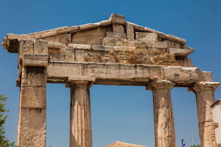 Ruins of the Gate of Athena Archegetis located at the Athens Roman Agora 写真素材