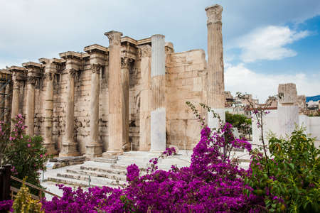 Ancient ruins of the Library of Hadrian in a beautiful early spring day at Athens city