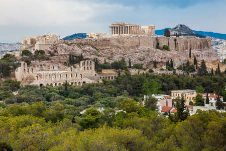 View of the Acropolis at Athens city in a beautiful early spring day