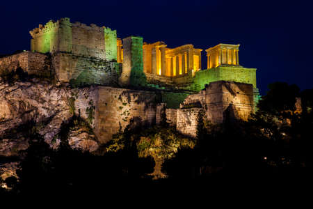 Night view of the beautiful Acropolis from the Areopagus Hill