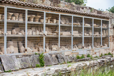 Detail of the ruins of the a Ancient Agora in Athens Stock Photo