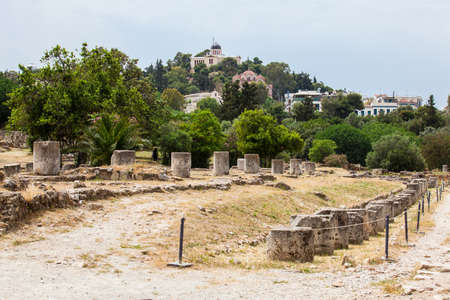 Ruins of the a Ancient Agora in Athens Stock fotó