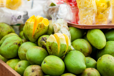 Traditional cart of an street vendor of tropical fruits in the city of Cali in Colombia Stock fotó