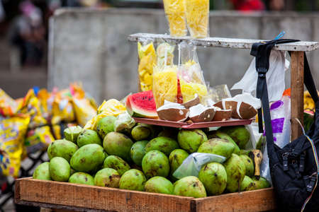 Street sell of tropical fruits in the city of Cali in Colombia