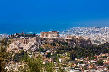 The city of Athens seen from the Mount Lycabettus a Cretaceous limestone hill