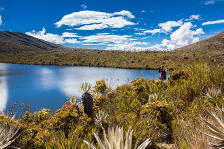 Young woman exploring the nature of a beautiful paramo at the department of Cundinamarca in Colombia Stock Photo