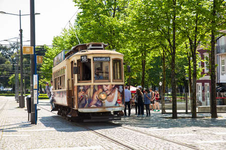 PORTO, PORTUGAL - MAY, 2018: Traditional tram at Porto city center in a beautiful early spring day