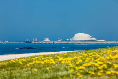 Porto city port at a sunny early spring day seen form the beautiful promenade along the Porto coastline