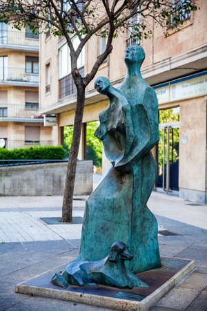 SALAMANCA, SPAIN - MAY, 2018: Tribute to the woman and man of the Salamanca countryside called Looking at the sky by Maria Salud Parada