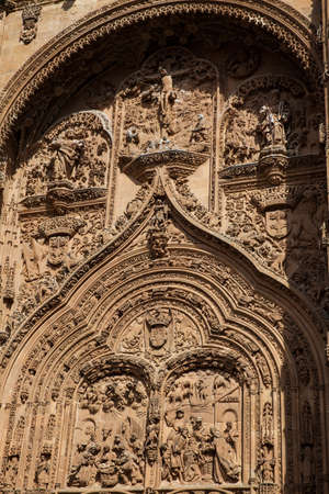 Detail of the beautiful carvings on the facade of the historical Salmanca Cathedral Stock Photo