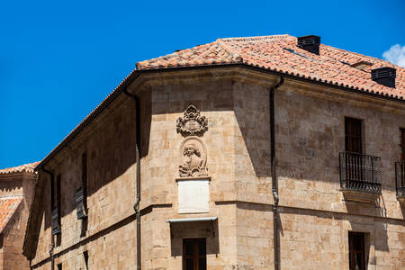 Beautiful architecture of the antique buildings around at Calle Melendez in Salamanca old city Stock Photo