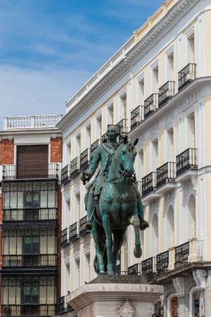 MADRID, SPAIN - MAY, 2018: Equestrian statue of Carlos III located at Puerta del Sol in Madrid
