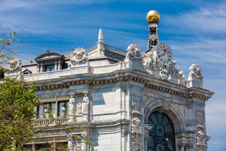 MADRID, SPAIN - MAY, 2018: Historical Bank of Spain building at Cibeles Square