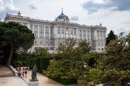 MADRID, SPAIN - MAY, 2018: The Royal Palace of Madrid the official residence of the Spanish royal family at the city of Madrid seen from the Sabatini Gardens