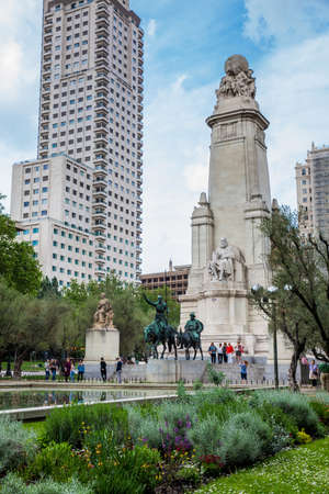 MADRID, SPAIN - MAY, 2018: The Miguel de Cervantes monument built in 1929 located in the Spain Square in Madrid