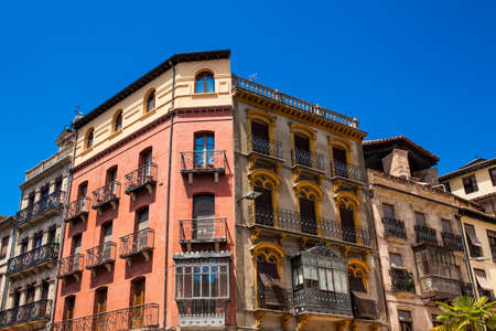 Beautiful architecture of the antique buildings around the square of the Poet Iglesias at Salamanca old city