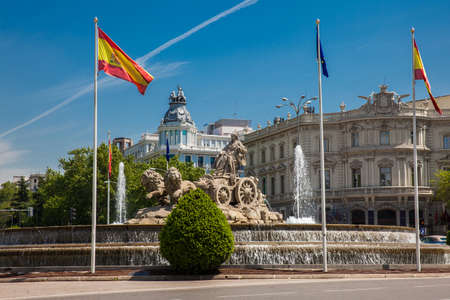 The famous monumental Cibeles fountain located in the square of the same name built on 1782 ? ?? at Madrid city center
