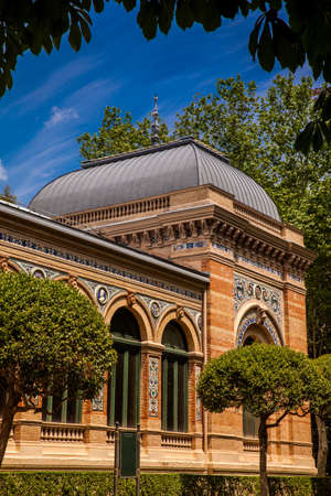 The historical Velzquez Palace an exhibition hall located in Buen Retiro Park in Madrid built in 1883 Editorial