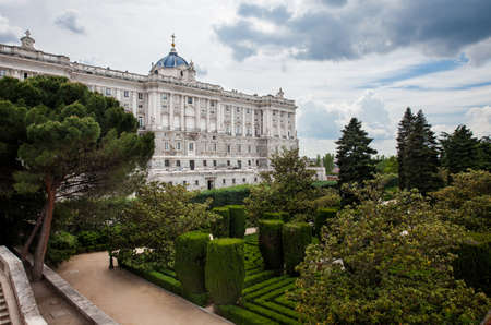 The Royal Palace of Madrid the official residence of the Spanish royal family at the city of Madrid seen from the Sabatini Gardens