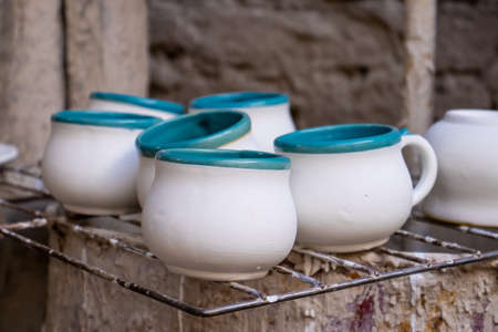 Ceramics on the elaboration process at a traditional factory at the beautiful small city of Raquira in Colombia