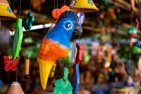 Beautiful handmade wind chimes made of clay at the small town of Raquira also known as The City of Pots in Colombia