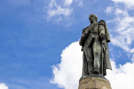 VENTAQUEMADA, COLOMBIA - FEBRUARY 2021. Monument to General Francisco de Paula Santander. The famous historic Bridge of Boyaca in Colombia. The Colombian independence Battle of Boyaca took place here on August 7, 1819. Sajtókép
