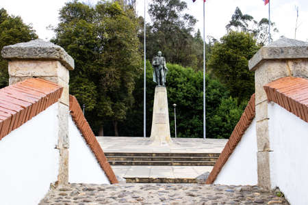 VENTAQUEMADA, COLOMBIA - FEBRUARY 2021. Monument to General Francisco de Paula Santander seen from the famous historic Bridge of Boyaca in Colombia. The Colombian independence Battle of Boyaca took place here on August 7, 1819.
