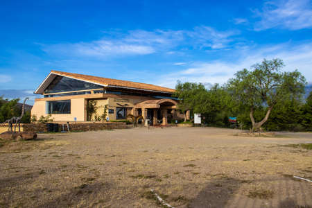 VILLA DE LEYVA, COLOMBIA - FEBRUARY 2021. Facade of the Paleontological Research Center located at Villa de Leyva in Colombia