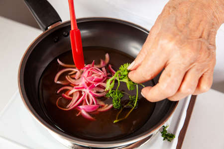 Close-up of the process of preparation of homemade pickles
