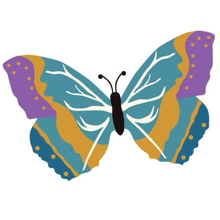 白い背景上に分離されて色の蝶