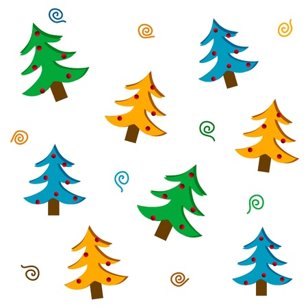Set of stylized Christmas trees, vector images Illustration