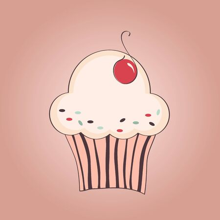 Vector hand drawn illustration of cupcake with cherry Vector