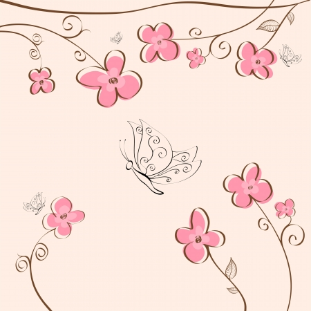 plant delicate: Cute floral background with butterflies Illustration