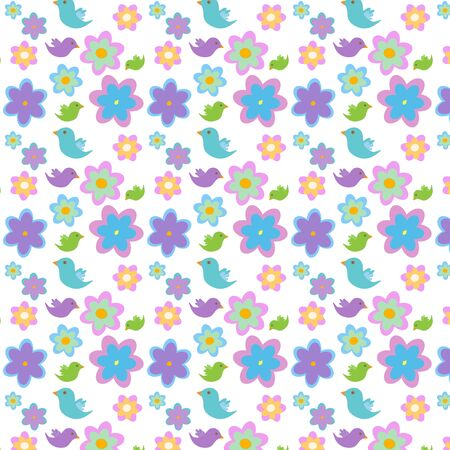 Pattern with flowers and birds Stock Vector - 17150478
