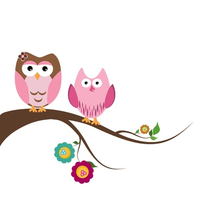 Two beautiful owls sitting on the tree branch Vector