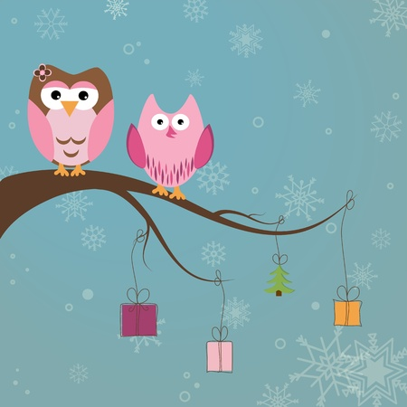 Christmas card with two cute owls on the tree branch Vector